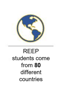 info graphic says REEP students come from 80 different countries